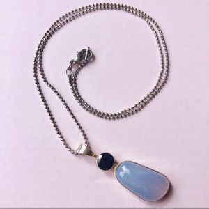 Blue Aura Chalcedony Silver Pendant Necklace